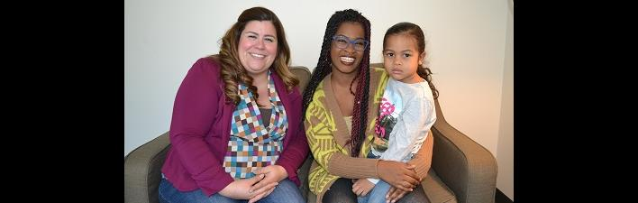 Left to right:  Hillsides therapist Natalia Hughes, Porsha Hogg, and Porsha's son.